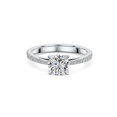The Engagement Collection: Brilliant-Cut 1.01ct 4 Claw Solitaire Ring With Diamond Shoulders in Platinum-H & I-Hamilton & Inches