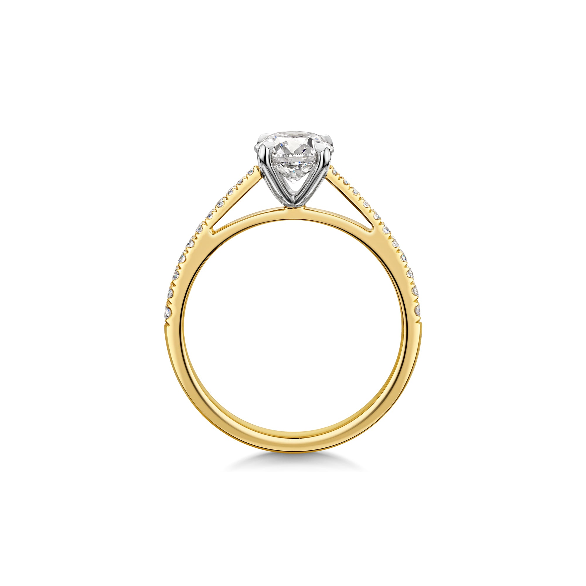 The Engagement Collection: Brilliant-Cut 0.90ct 4 Claw Solitaire Ring With Diamond Shoulders in 18ct Yellow Gold-H & I-Hamilton & Inches