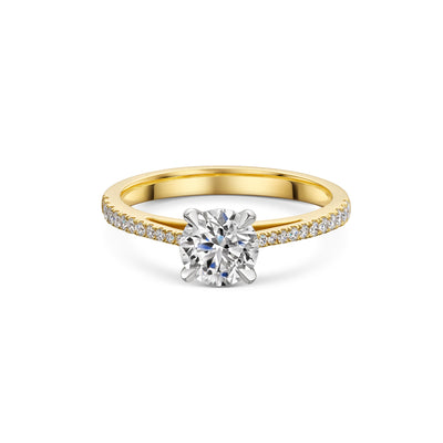 The Engagement Collection: Brilliant-Cut 0.90ct 4 Claw Solitaire Ring With Diamond Shoulders in 18ct Yellow Gold-Hamilton & Inches