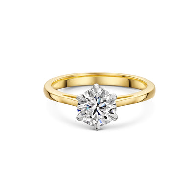 The Engagement Collection: Brilliant-Cut 1.00ct 6 Claw Diamond Solitaire Ring in 18ct Yellow Gold-Hamilton & Inches