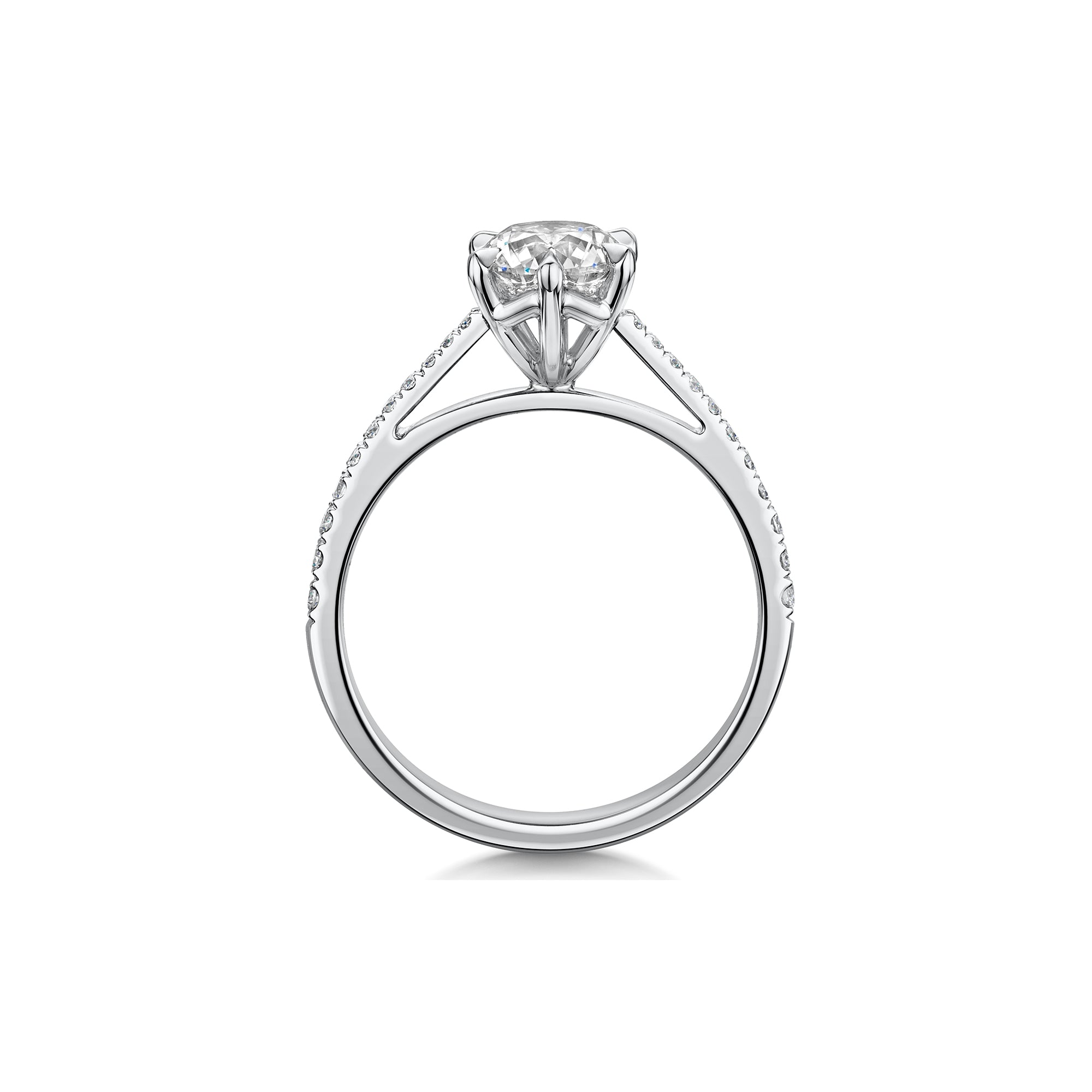 The Engagement Collection: Brilliant-Cut 1.00ct 6 Claw Solitaire Ring with Diamond Shoulders in Platinum-Hamilton & Inches