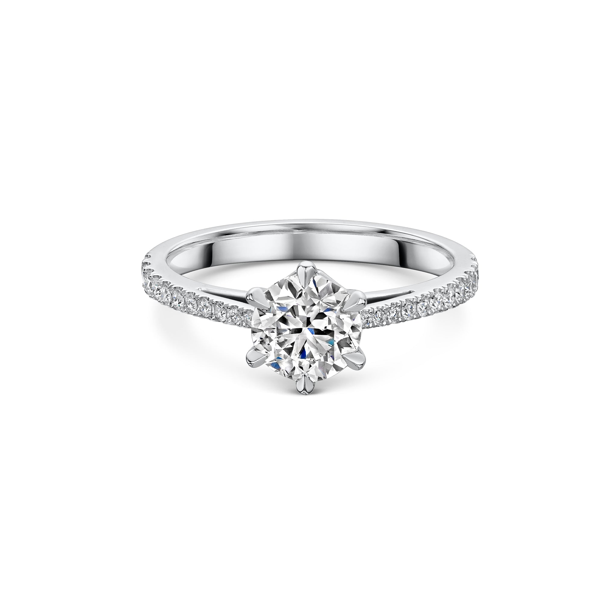 The Engagement Collection: Brilliant-Cut 1.00ct 6 Claw Solitaire Ring with Diamond Shoulders in Platinum-H & I-Hamilton & Inches