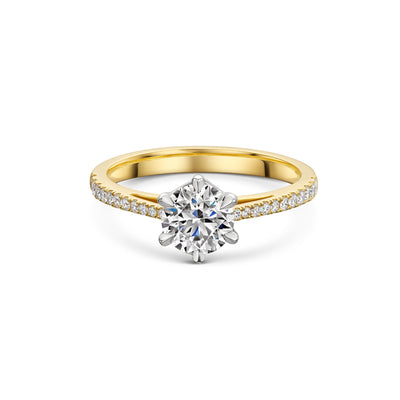 The Engagement Collection: Brilliant-Cut 0.90ct 6 Claw Solitaire Ring with Diamond Shoulders in 18CT Yellow Gold-Hamilton & Inches