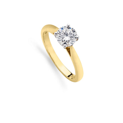 Brilliant-Cut Diamond Engagement Ring in 18ct Yellow Gold