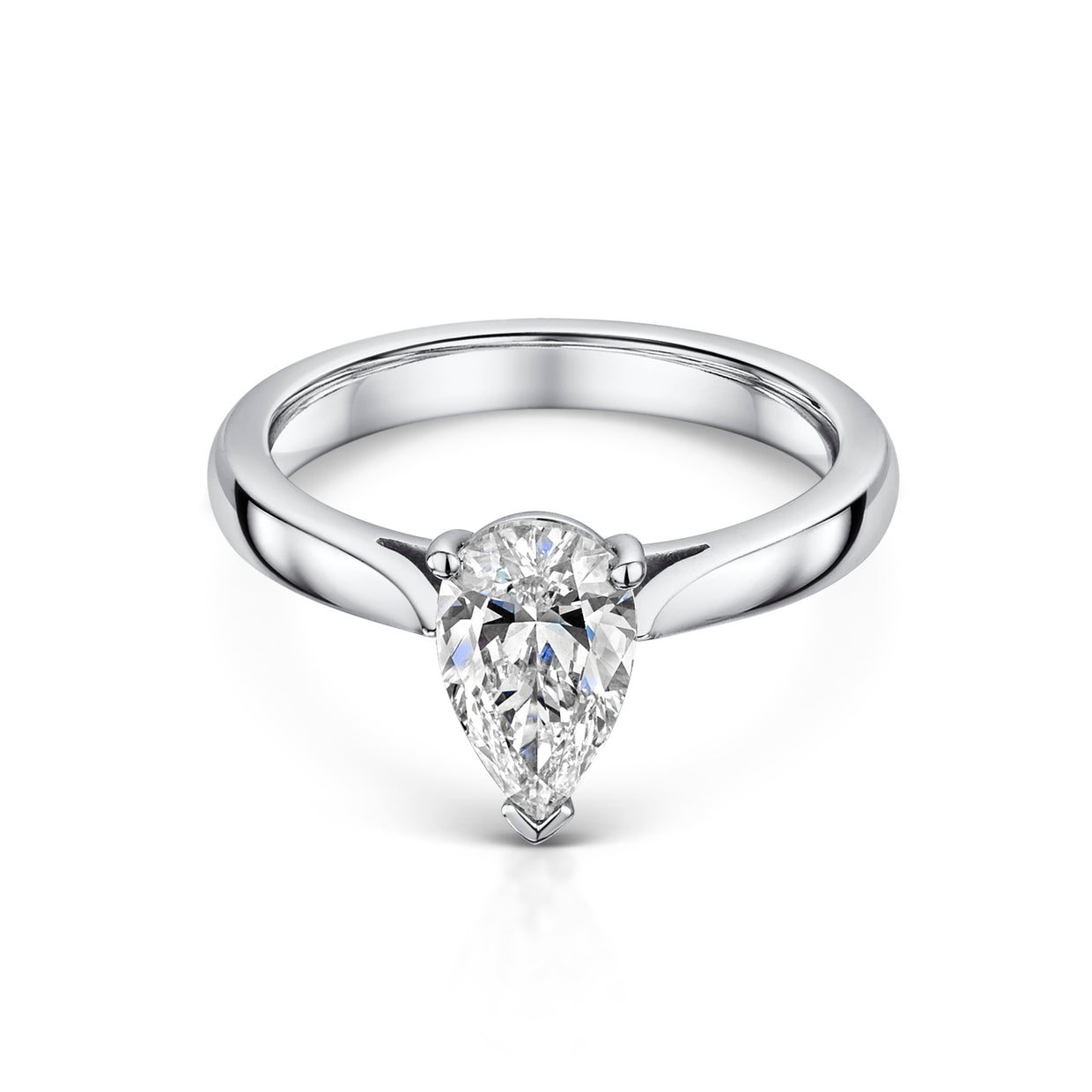Pear Shaped Diamond Engagement Ring in Platinum-Hamilton & Inches