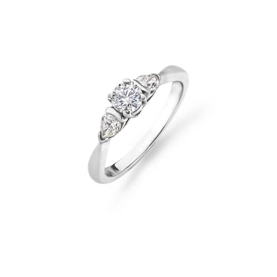 Brilliant-Cut Trilogy Ring with Diamond Pear-Cut Shoulders - Hamilton & Inches
