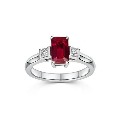 Three Stone Ruby Diamond Engagement Ring in Platinum-Hamilton & Inches