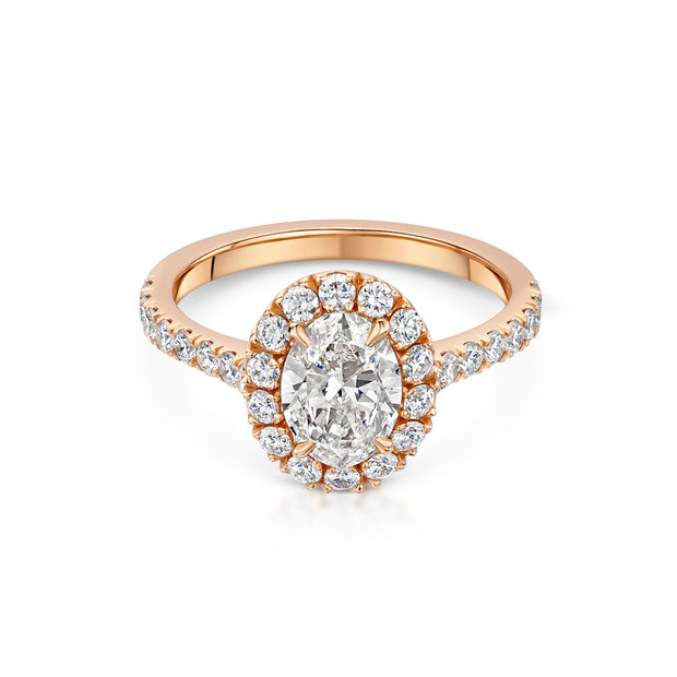 Cluster Diamond Engagement Ring in 18ct Rose Gold-Hamilton & Inches