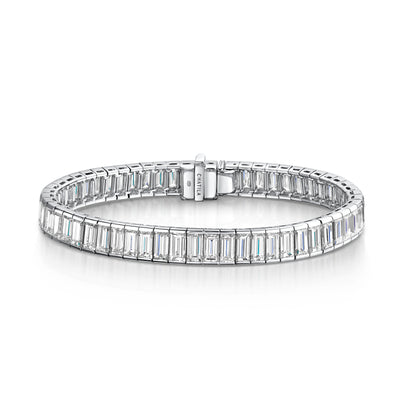 Diamond Line Bracelet in 18ct White Gold-Hamilton & Inches