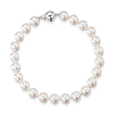 Single Row Akoya Pearl Bracelet With 18ct White Gold Clasp - Hamilton & Inches
