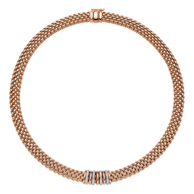 Fope 18ct rose gold Panorama necklet with 18ct rose gold and 18ct white gold pave diamond set rondels. Diamond weight 0.30ct. 420mm. - Hamilton & Inches