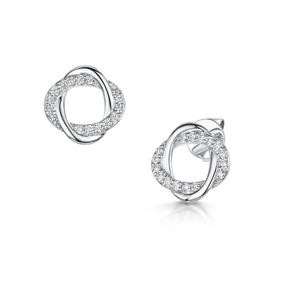 0.31ct Diamond Circle Stud Earrings in 18ct White Gold - Hamilton & Inches