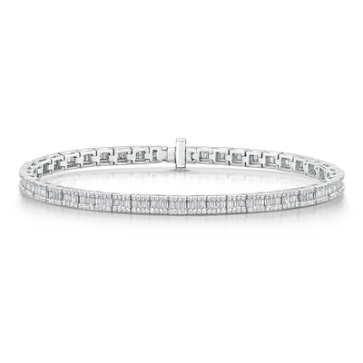 Diamond Line Bracelet in 18ct White Gold - Hamilton & Inches