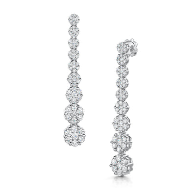 Diamond Cluster Drop Earrings in 18ct White Gold - Hamilton & Inches