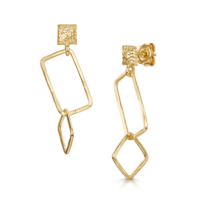 Hamilton & Inches Square Chain Link Earrings in 18ct Yellow Gold - Hamilton & Inches