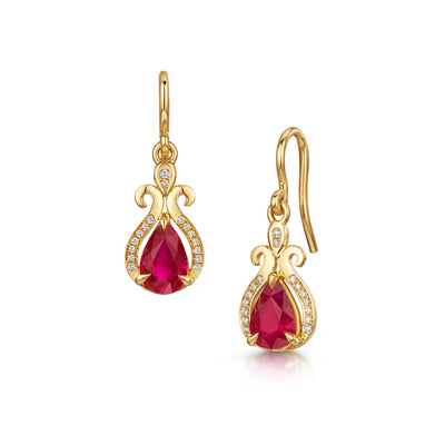 22ct Scottish Gold Pear-Shaped Ruby Earrings - Hamilton & Inches