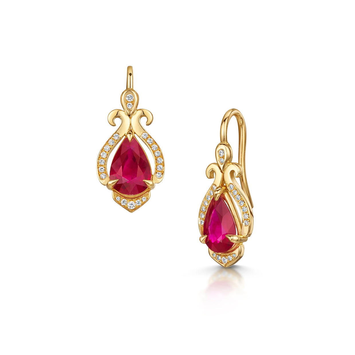 22ct Scottish Gold Ruby and Diamond Earrings - Hamilton & Inches