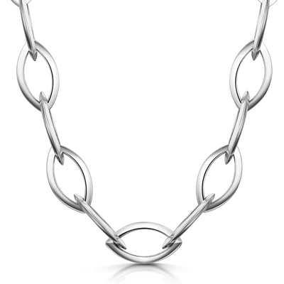 Marquise Shaped Link Necklace in Sterling Silver-Hamilton & Inches