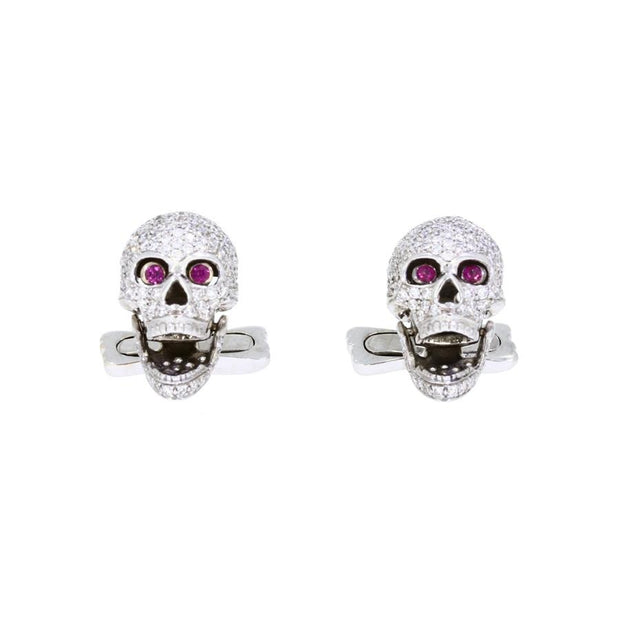 Diamond Skulls Cufflinks With Ruby Eyes in White Gold - Hamilton & Inches