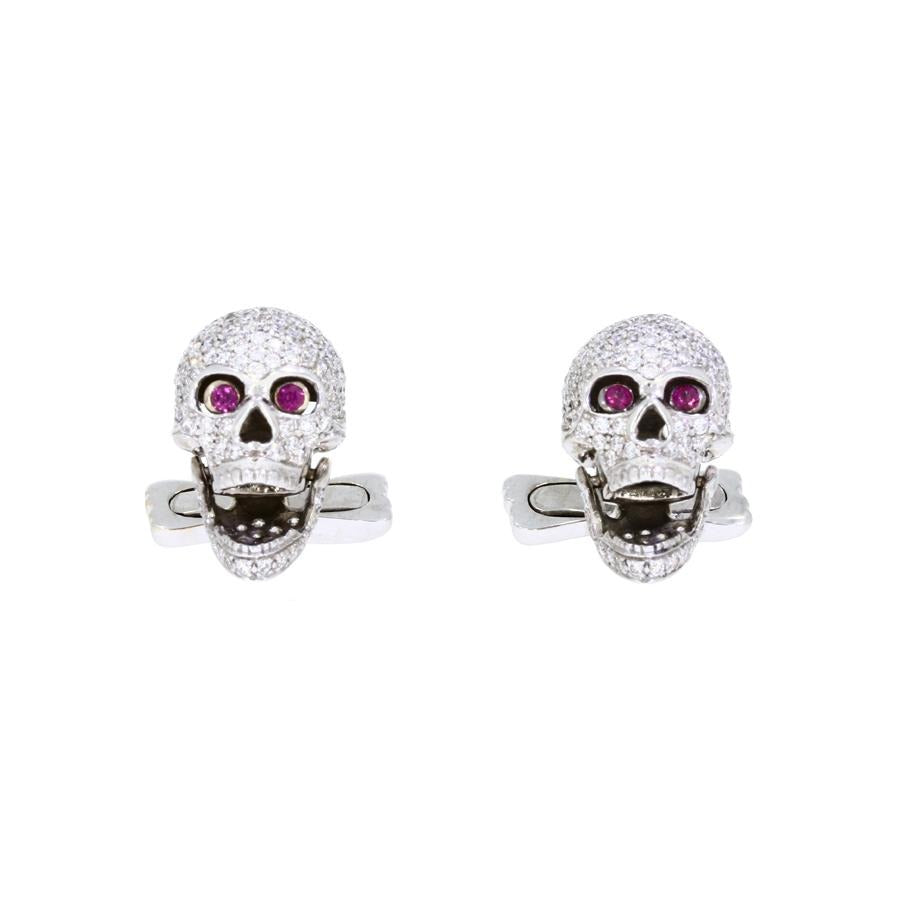 Diamond Skulls Cufflinks With Ruby Eyes in White Gold-Hamilton & Inches