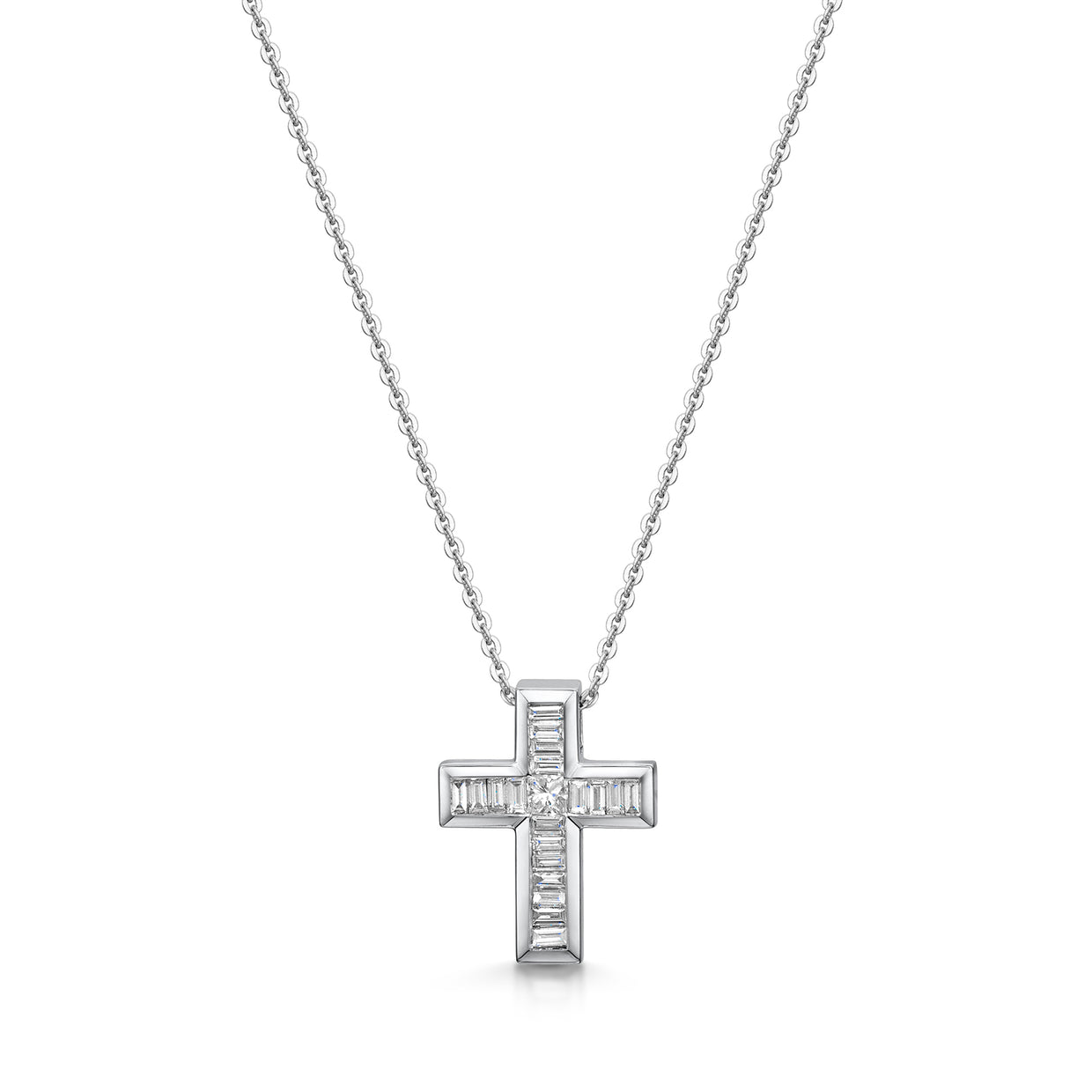 Diamond Cross Pendant in 18ct White Gold-Hamilton & Inches