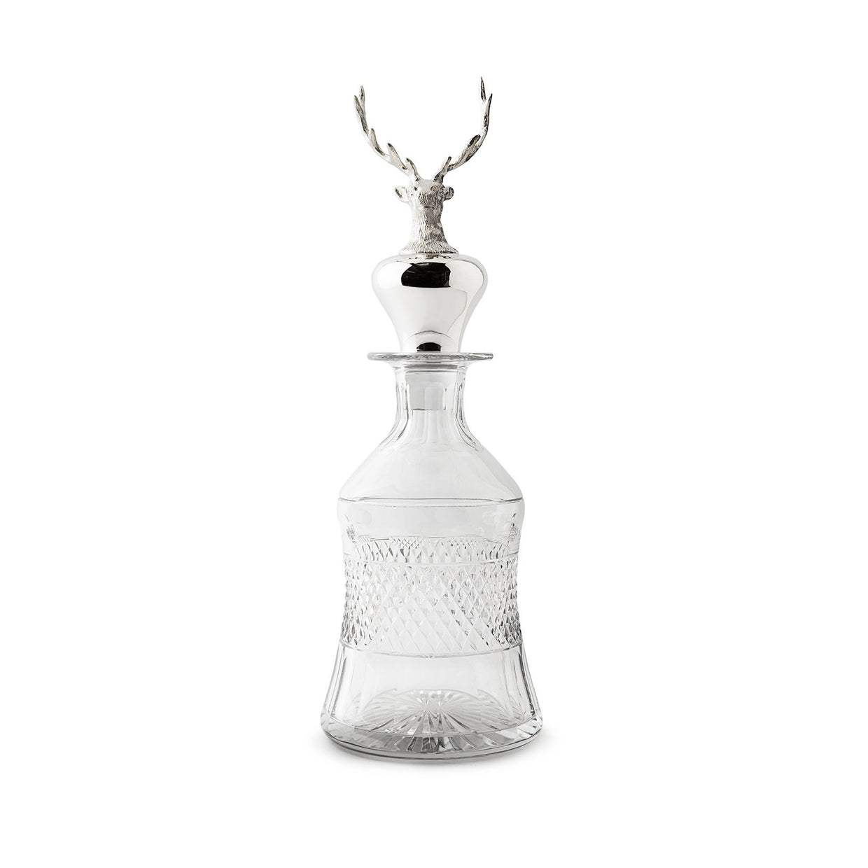 Sterling Silver Stag Head 'Mallet' Decanter-Hamilton & Inches