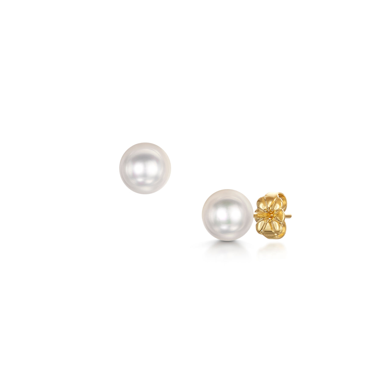 6.5x7mm Pearl Stud Earrings In 18ct Yellow Gold - Hamilton & Inches