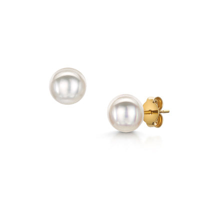 Pearl Stud Earrings in 18ct Yellow Gold-Hamilton & Inches