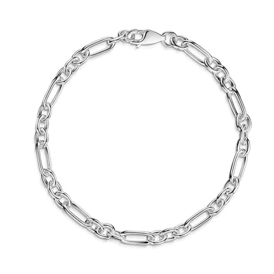 Sterling Silver Oval Charm Bracelet-Hamilton & Inches