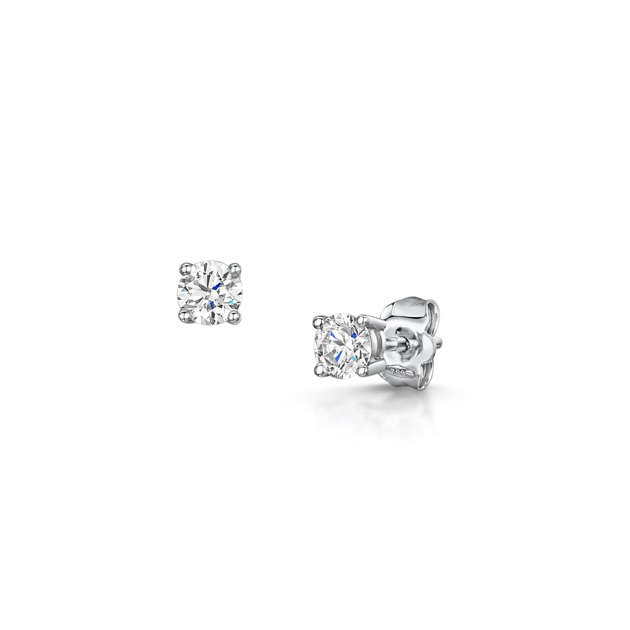 Round Brilliant Cut 0.70ct Diamond Stud Earrings in White Gold-H & I-Hamilton & Inches