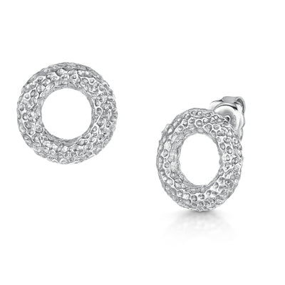 Hamilton & Inches Sterling Silver Donut Earrings-Hamilton & Inches