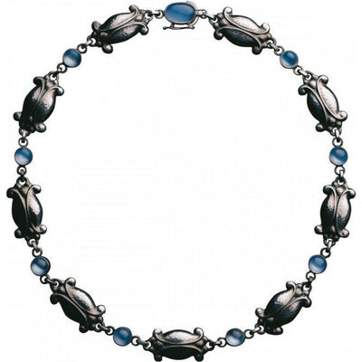 Georg Jensen Moonlight Blossom Heritage Necklet in Oxidised Sterling Silver-Hamilton & Inches