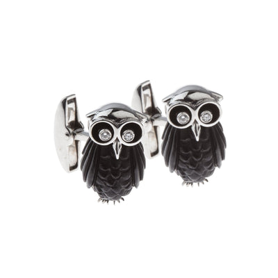 Carved Onyx & Diamond Owl Cufflinks - Hamilton & Inches