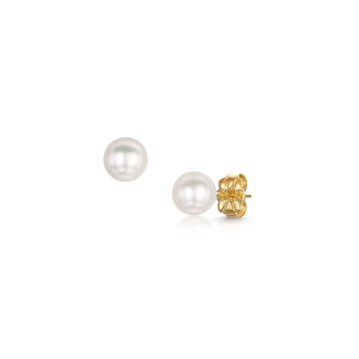 6x6.5mm Pearl Stud Earrings In 18ct Yellow Gold - Hamilton & Inches