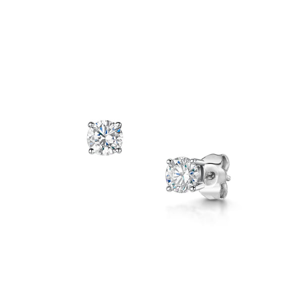 Round Brilliant-Cut 0.90ct Diamond Stud Earrings in White Gold
