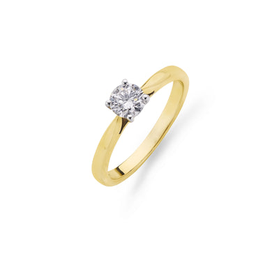 Round Brilliant-Cut Diamond Engagement Ring in Yellow Gold-Hamilton & Inches