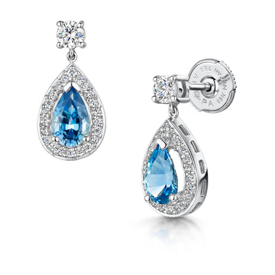 Aquamarine and Diamond Drop Earrings in 18ct White Gold-H & I-Hamilton & Inches