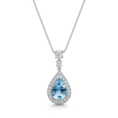 Aquamarine and Diamond Pendant in 18ct White Gold-Hamilton & Inches