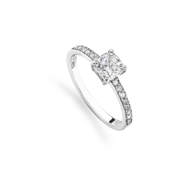 Cushion-Cut Diamond Engagement Ring with Pave Shoulders in Platinum - Hamilton & Inches