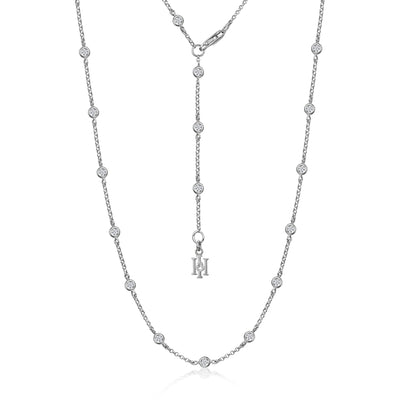 Dewdrop Diamond Necklet in 18ct White Gold-Hamilton & Inches
