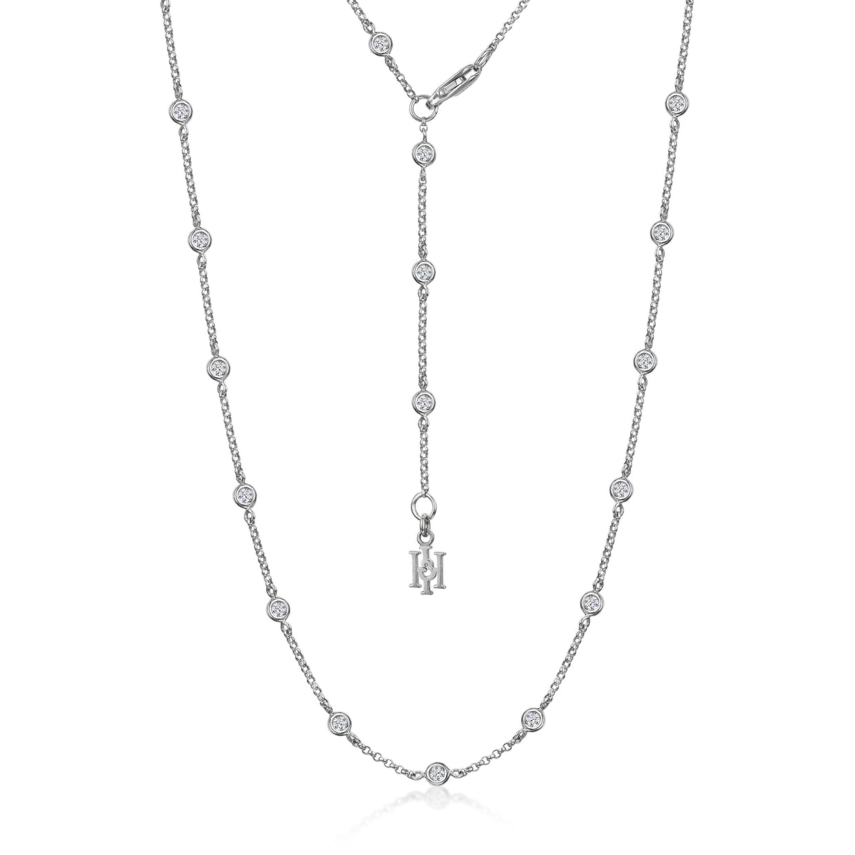 Dewdrop Diamond Necklet in 18ct White Gold-H & I-Hamilton & Inches