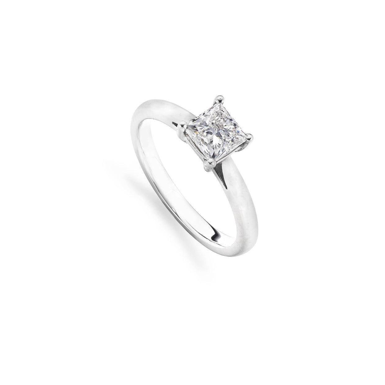 0.90ct Princess-Cut Diamond Engagement Ring in Platinum-Hamilton & Inches