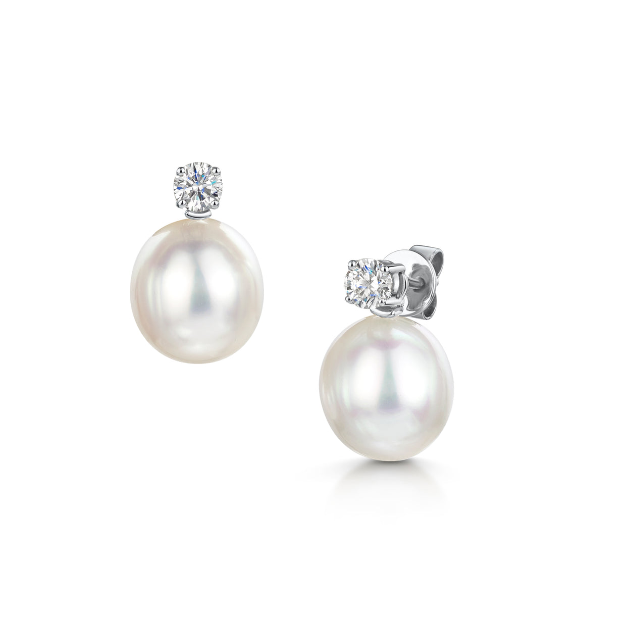 Pearl & Diamond Detachable Drop Earrings in 18ct White Gold-Hamilton & Inches
