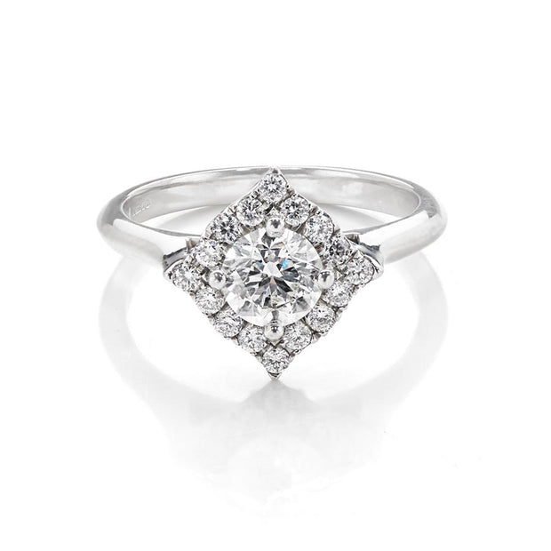 Handmade Diamond Halo Cluster Ring in Platinum - Hamilton & Inches