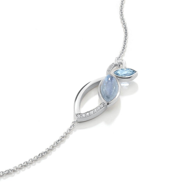 Flora Lariat Necklace in 18ct White Gold - Hamilton & Inches