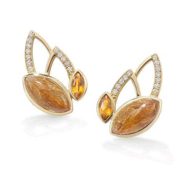 Flora Stud Earrings in 18ct Yellow Gold-Hamilton & Inches