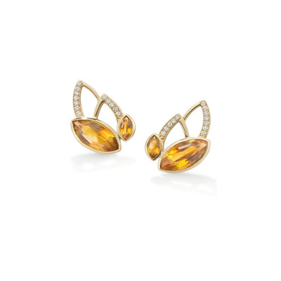 Flora Stud Earrings in 18ct Yellow Gold with 2.04cts Citrine-Hamilton & Inches