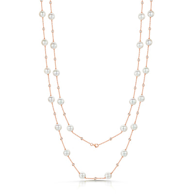 Pearl & Diamond Set Necklace in 18ct Rose Gold-Hamilton & Inches