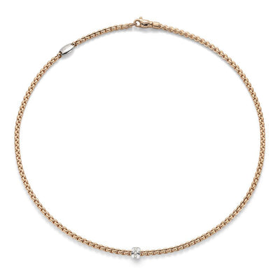 FOPE Eka Tiny Diamond Necklace in 18ct Rose Gold - Hamilton & Inches
