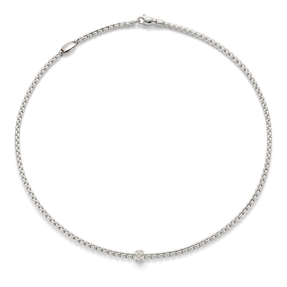 FOPE Eka Tiny Diamond Necklace in 18ct White Gold (80cm)-Hamilton & Inches